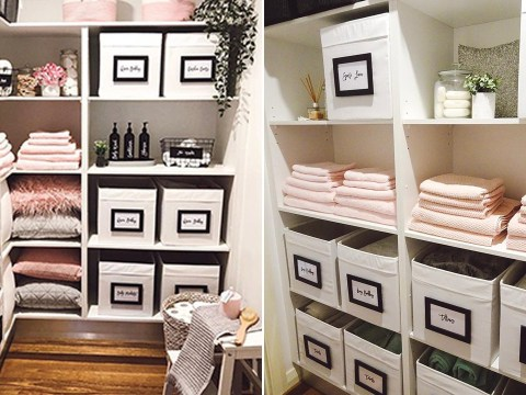 We're sure this mum's linen cupboard is the most organised we've ever seen