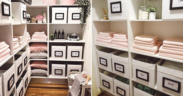 Tidy and pink linen cupboard