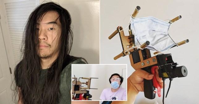 Man invents machine that shoots out face masks