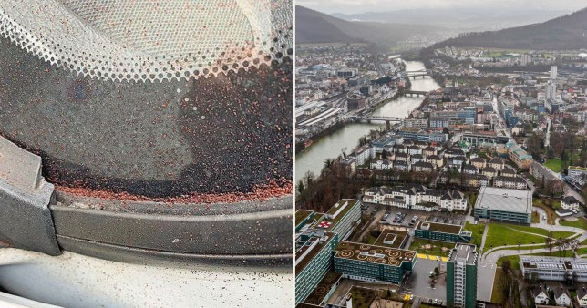 The Swiss town and chocolate on a car