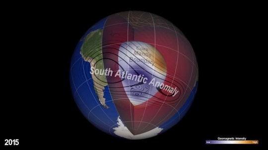 Nasa monitoring evolving dent in Earth's magnetic field (Picture: NASA)