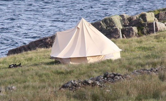 Tent at the cottage where Boris Johnson is staying at Applecross.