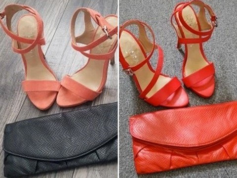 Woman paints old shoes and handbag after struggling to find new ones to match her outfit