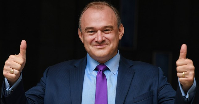 Sir Ed Davey gives a thumbs up after being announced as the new leader of the Liberal Democratic Party, in London, Britain, 27 August 2020.