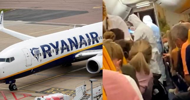 Un passager a été enlevé d'un vol Ryanair après avoir reçu un test de coronavirus positif sur le tarmac de Londres Stansted.