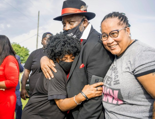 Mandatory Credit: Photo by Sean Meyers/ZUMA Wire/REX (10757885b) Ronnie Long, a North Carolina man that was has been incarcerated for the last 44 years, celebrates his release today with family, after a United States District Court ruled to vacate his 1976 rape conviction because of having his due rights violated under the Constitution when he was convicted. Ronnie Long, Albemarle, North Carolina, USA - 27 Aug 2020