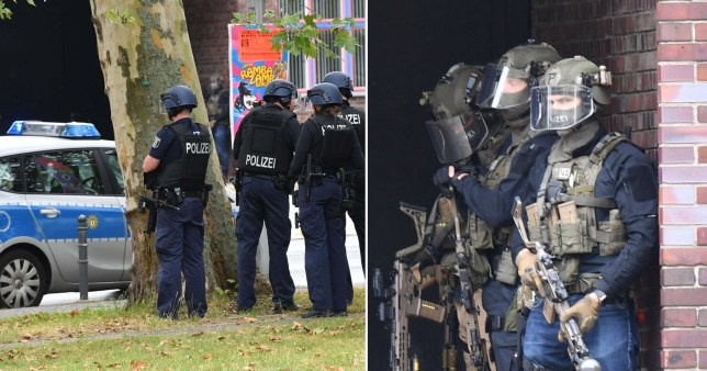 Composite image of police outside  Max Taut Schule in Berlin