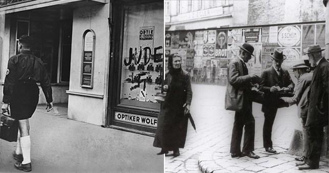 Un magasin d'opticien appartenant à des juifs en Autriche défiguré à l'époque nazie