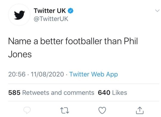 Twitter UK deleted their post which trolled Manchester United defender Phil Jones
