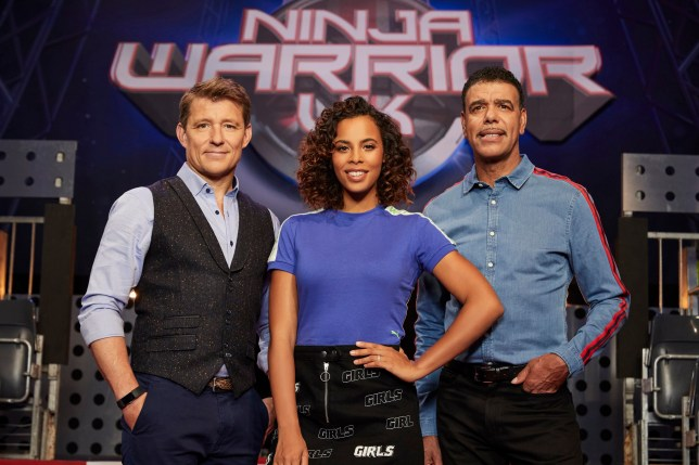 This image is strictly embargoed from publication until 00.01 Tuesday 9th April 2019 From Potato Ninja Warrior UK: SR5 on ITV Pictured: Ben Shephard, Rochelle Humes and Chris Kamara. This photograph is (C) ITV Plc and can only be reproduced for editorial purposes directly in connection with the programme or event mentioned above. Once made available by ITV plc Picture Desk, this photograph can be reproduced once only up until the transmission [TX] date and no reproduction fee will be charged. Any subsequent usage may incur a fee. This photograph must not be manipulated [excluding basic cropping] in a manner which alters the visual appearance of the person photographed deemed detrimental or inappropriate by ITV plc Picture Desk. This photograph must not be syndicated to any other company, publication or website, or permanently archived, without the express written permission of ITV Plc Picture Desk. Full Terms and conditions are available on the website www.itv.com/presscentre/itvpictures For further information please contact: iwona.karbowska@itv.com / 0207 157 3043