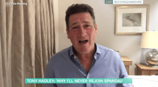 Tony Hadley pictured on This Morning via video call