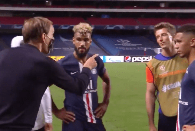 Thomas Tuchel clashes with Daniel Behlau after PSG's Champions League semi-final win over Leipzig