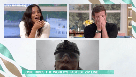 Rochelle Humes and Dermot O'Leary laughing at Josie Gibson on zip wire during This Morning