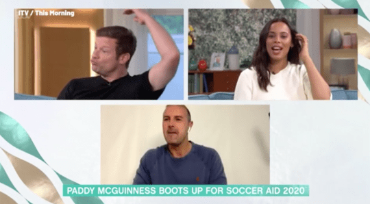 Dermot O'Leary and Rochelle Humes interviewing Paddy McGuinness on This Morning