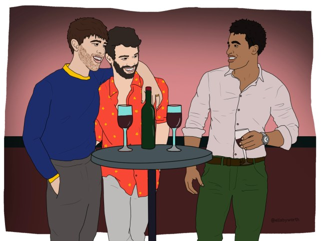 Illustration of three men standing at a table with a bottle of wine and wine glasses