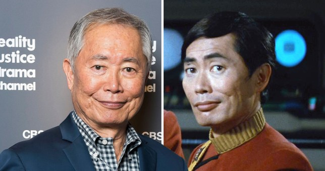George Takei pictured on red carpet and in Star Trek TV series as Sulu