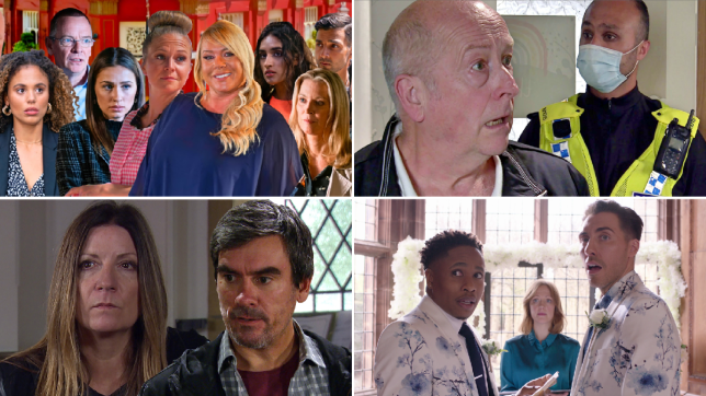 Chantelle, Ian, Dotty, Linda, Sharon, Habiba, Vinny and Kathy in EastEnders, Geoff and a policeman in coronation Street, Harriet and Cain in Emmerdale, and Scott and Mitchell in Hollyoaks