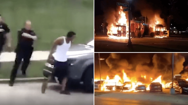 Jacob Blake being shot and burning vehicles in Wisconsin