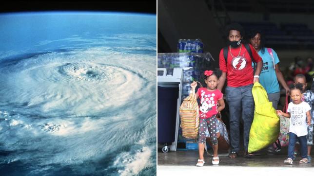 satellite of a hurricane / people evacuating
