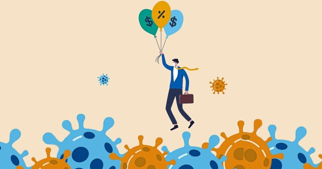 man floating away with money balloons over coronavirus symbols