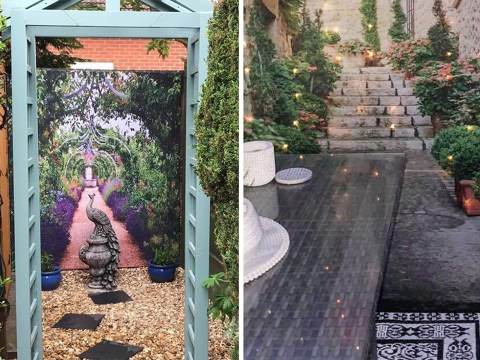 People are using strategically placed shower curtains to make their gardens look bigger on social media