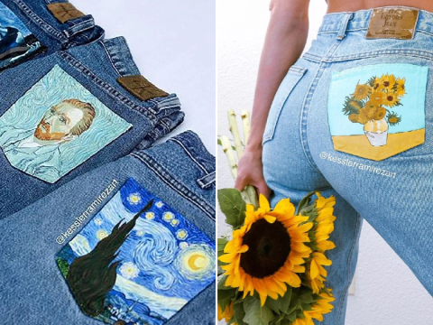 Artist turns jean pockets into Monet and Van Gogh masterpieces