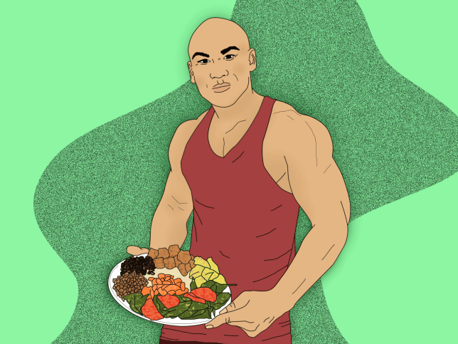 Illustration of bodybuilder in vest eating lots