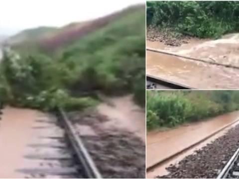 Branches strewn across track in landslip close to where train derailed