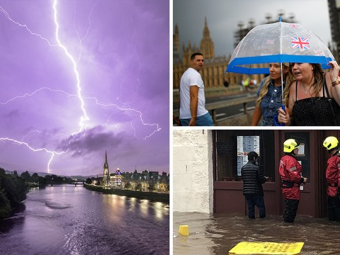 Thunderstorms and flash flooding to last until Monday bringing end to heatwave