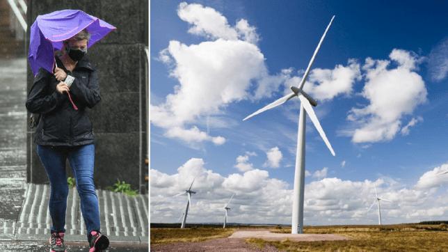 Wind power in storm Ellen