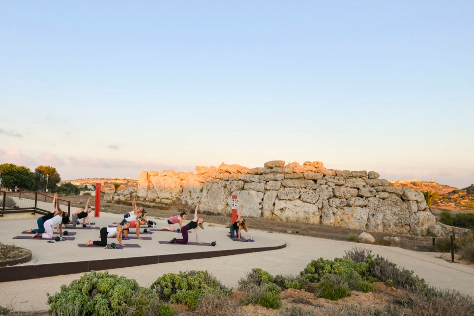 group doing fitness class in gozo, near malta