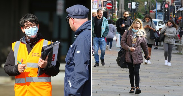 People wearing face masks in Bolton, Greater Manchester