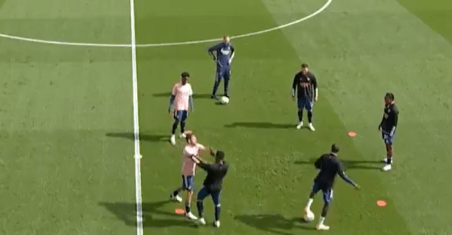 Dani Ceballos squares up to Arsenal teammate Eddie Nketiah during heated pre-match warm up
