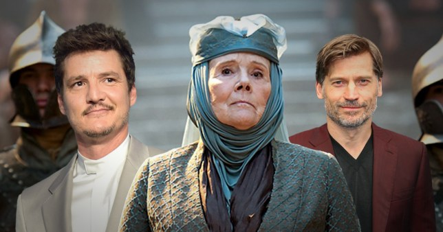 Dame Diana Rigg with Nikolaj Coster-Waldau and Pedro Pascal