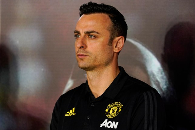 Dimitar Berbatov looks on at an event for Manchester United