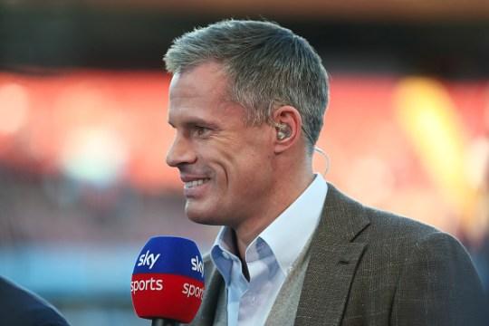 Jamie Carragher looks on ahead of Everton's clash with Aston Villa