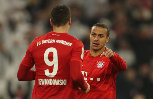 Robert Lewandowski and Thiago were team-mates at Bayern Munich for six years