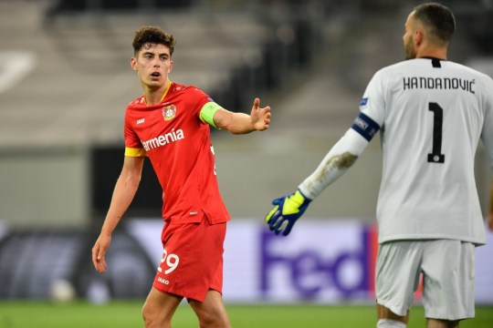 Havertz looks on during Leverkusen's clash with Inter Milan