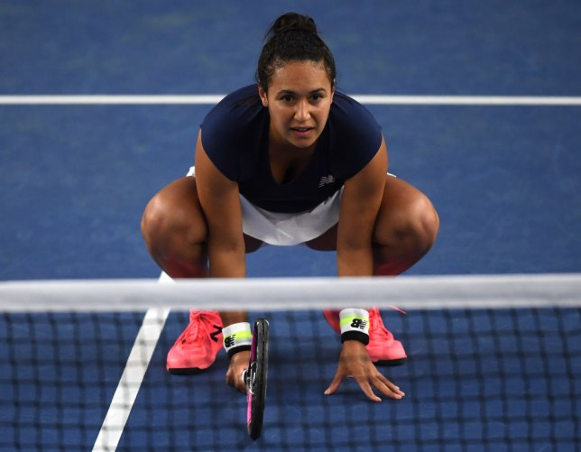 Heather Watson, partner of Jamie Murray in their mixed doubles match against Joe Salisbury and Harriet Dart during Day One of the St. James's Place Battle Of The Brits Team Tennis at National Tennis Centre on July 27, 2020 in London, England.