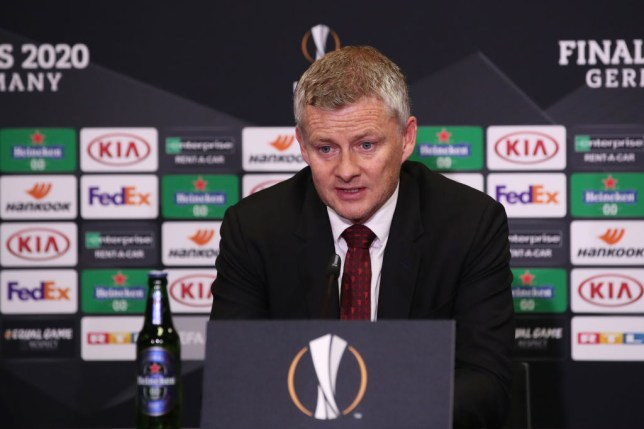 Ole Gunnar Solskjaer, Manager of Manchester United speaks to the media during a press conference following the UEFA Europa League Semi Final between Sevilla and Manchester United at RheinEnergieStadion on August 16, 2020 in Cologne, Germany.