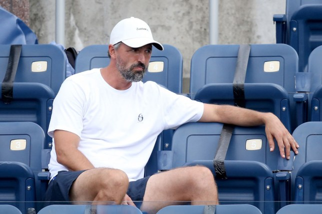 Goran Ivanisevic watches Novak Djokovic of Serbia play Tennys Sandgren during the Western & Southern Open at the USTA Billie Jean King National Tennis Center on August 25, 2020 in the Queens borough of New York City.