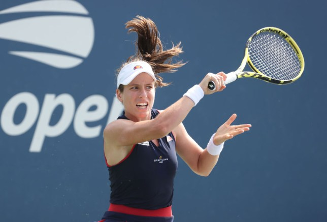Johanna Konta of Great Britain returns the ball during her Women's Singles first round match against  Heather Watson of Great Britain on Day Two of the 2020 US Open at the USTA Billie Jean King National Tennis Center on September 1, 2020 in the Queens borough of New York City.