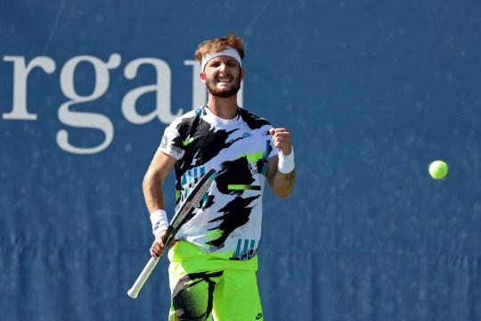 Corentin Moutet of France celebrates a point during his Men's Singles second round match against Daniel Evans of Great Britain on Day Five of the 2020 US Open at USTA Billie Jean King National Tennis Center on September 04, 2020 in the Queens borough of New York City.
