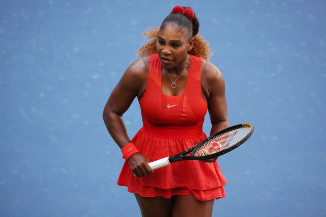 Serena Williams of the United States reacts during her Women's Singles third round match against Sloane Stephens of the United States on Day Six of the 2020 US Open at USTA Billie Jean King National Tennis Center on September 05, 2020 in the Queens borough of New York City
