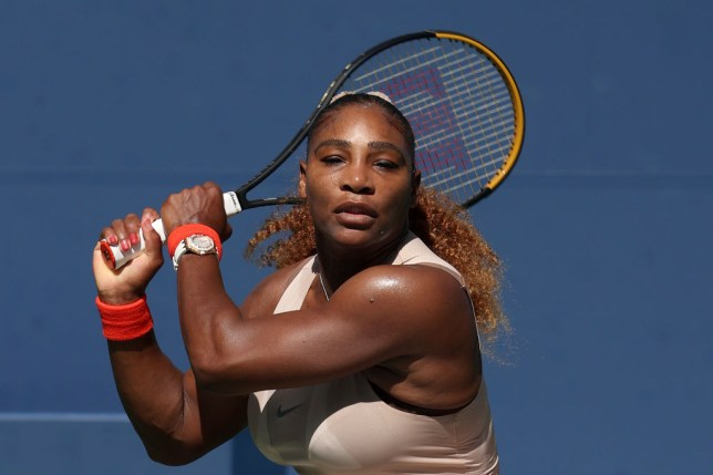 Serena Williams of the United States returns the ball during her Women's Singles fourth round match against Maria Sakkari of Greece on Day Eight of the 2020 US Open at the USTA Billie Jean King National Tennis Center on September 7, 2020 in the Queens borough of New York City.