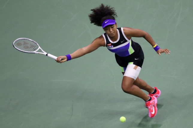 Naomi Osaka of Japan returns a volley during her Women's Singles quarter-finals match against Shelby Rogers of the United States on Day Nine of the 2020 US Open at the USTA Billie Jean King National Tennis Center on September 8, 2020 in the Queens borough of New York City.