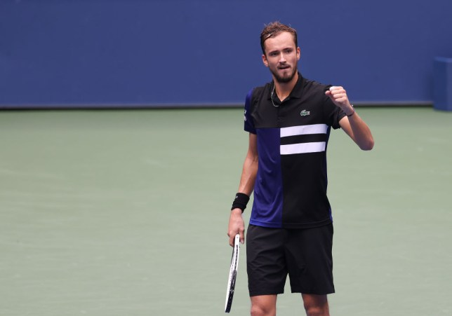 Daniil Medvedev of Russia reacts during his Men's Singles quarterfinal match against Andrey Rublev of Russia on Day Ten of the 2020 US Open at the USTA Billie Jean King National Tennis Center on September 9, 2020 in the Queens borough of New York City.