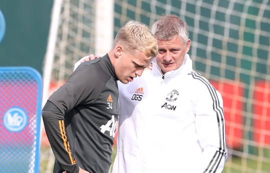 Donny van de Beek Ole Gunnar Solskjaer Manchester United Training Session