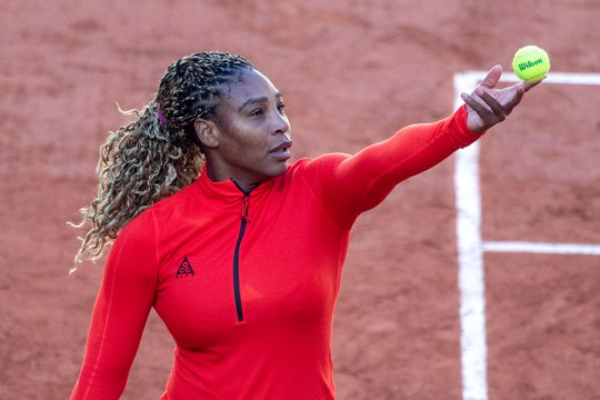 Serena Williams of the United States training on Court Philippe-Chatrier in preparation for the 2020 French Open Tennis Tournament at Roland Garros on September 26th 2020 in Paris, France.