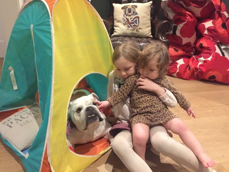 Bolshy the bulldog with Jen's two children